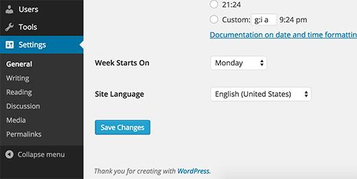 Instalación y cambio de idioma en la configuración de WordPress