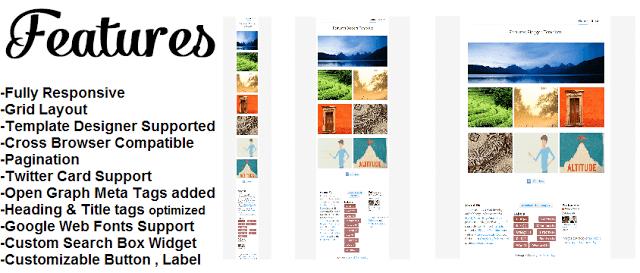 Incluye plantillas de Blogger, responsive, diseño de cuadrícula, SEO, paginación, etc.