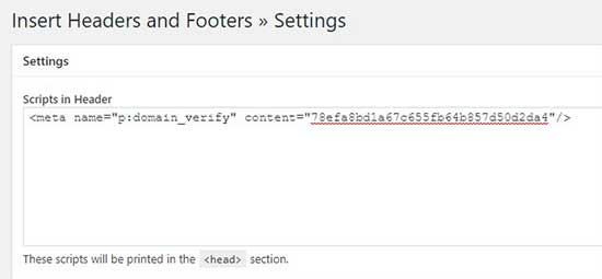 Insertar etiqueta HTML en la sección de secuencia de comandos del encabezado
