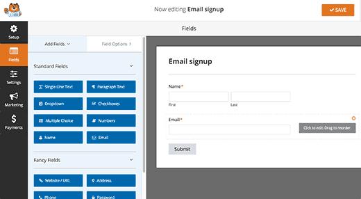 Editando un formulario en WPForms