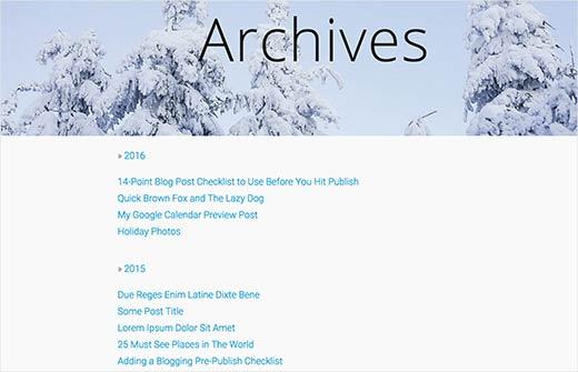 Archivos anuales plegables que muestran todas las publicaciones en WordPress