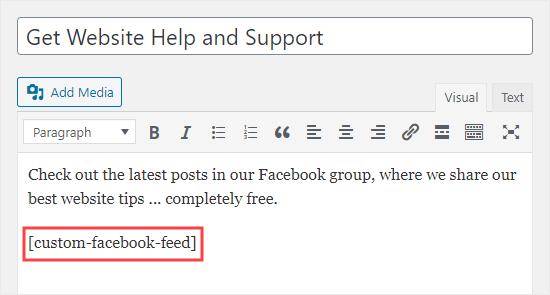 Agregar las publicaciones de su grupo a una página usando el editor clásico en WordPress