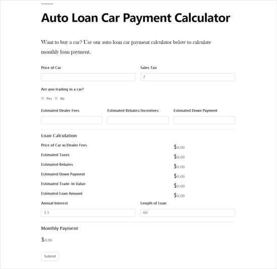 Calculadora de pago de préstamos para automóviles en la vista previa del sitio de WordPress