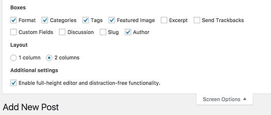 Configuración de opciones de pantalla en la pantalla de edición posterior en WordPress