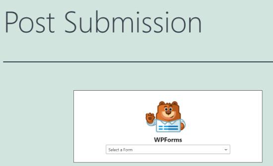 Seleccione su formulario de envío de publicaciones en el menú desplegable