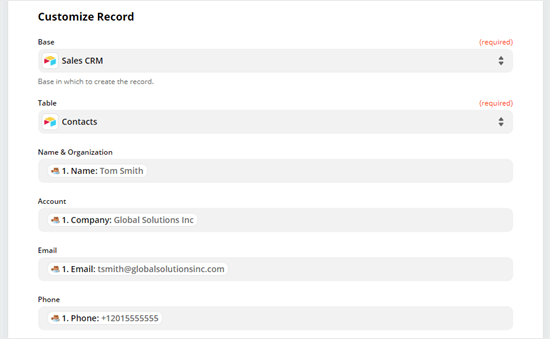 Personalice su registro seleccionando qué datos deben completar en qué columna de su tabla Airtable