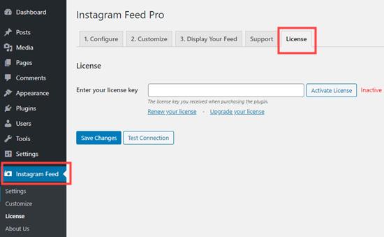 Agregar su licencia de Instagram Feed