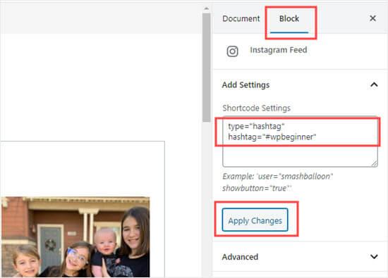Añadiendo el shortcode configuración para el bloque Feed de Instagram