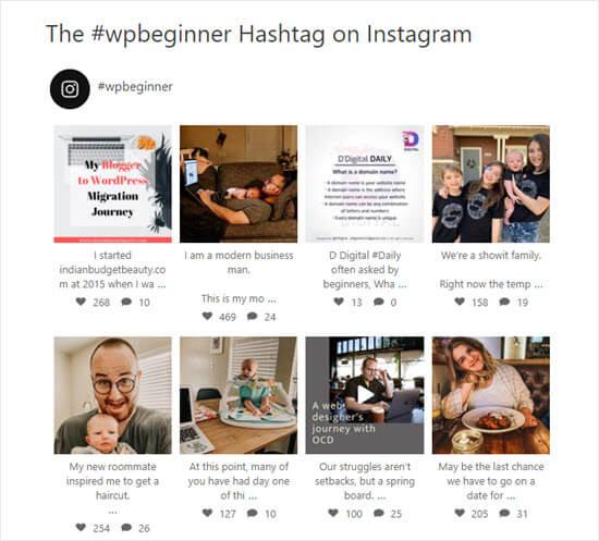 El feed del hashtag #wpbeginner