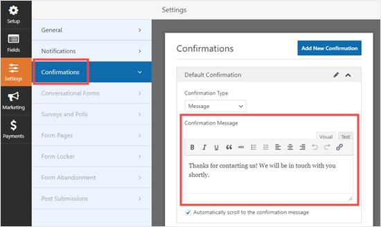 Cambiar el mensaje de confirmación que ve el usuario después de enviar el formulario