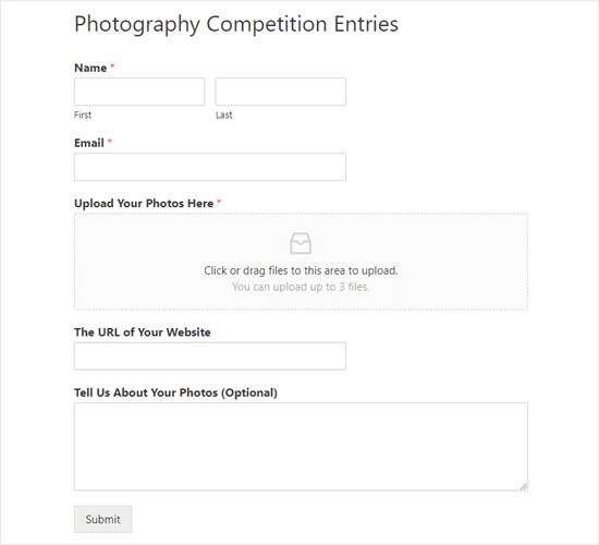 El formulario de carga de archivos terminado se encuentra en el sitio web