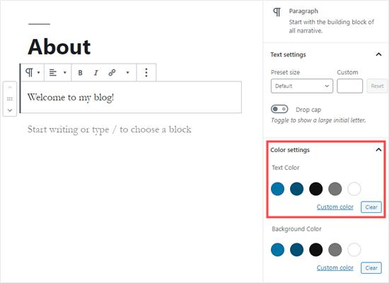 Elegir un color de texto para todo el bloque en WordPress