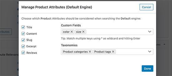 Adición de taxonomías y atributos de productos en la búsqueda