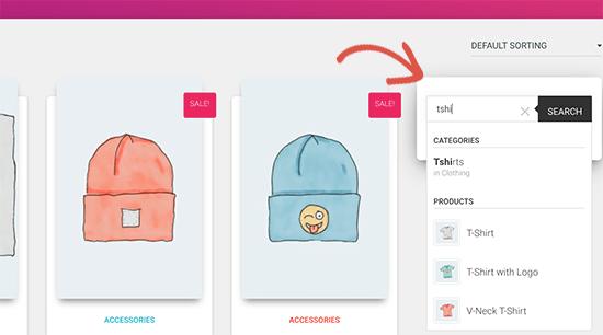 Vista previa de búsqueda de productos de la barra lateral