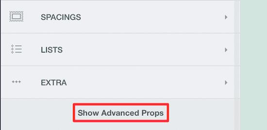 Haga clic en mostrar accesorios avanzados