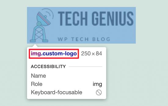 Clase de CSS del logotipo