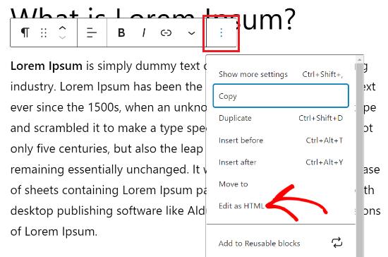 Haga clic en los tres puntos y seleccione editar como HTML