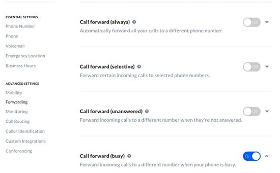 Opciones adicionales de reenvío de llamadas en Nextiva