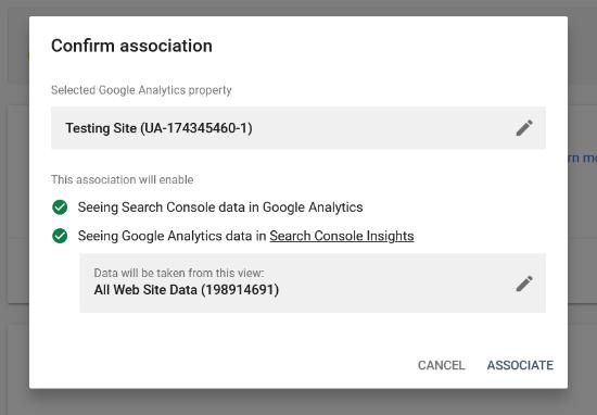 Confirmar asociación entre Analytics y Search Console