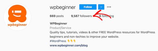 Haga clic en seguidores de Instagram