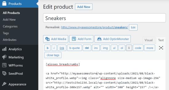 Agregar shortcode en la página del producto