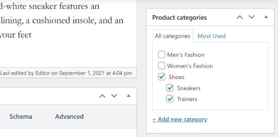 El producto tiene varias categorías