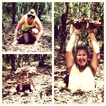 Now ya see me...now ya don't! Going into the Cu Chi Tunnels