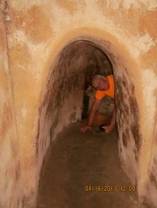 Crawling through the tunnels. Most people scooted. He thought this was a better idea.