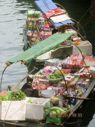 Snack stands in Ha Long Bay!