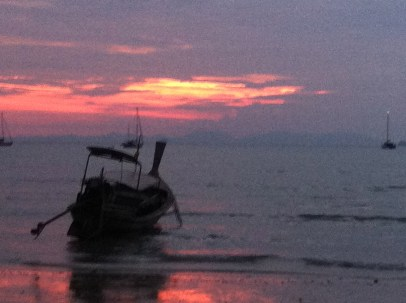 Sunset on West Railay. The tide coming back in a bit.