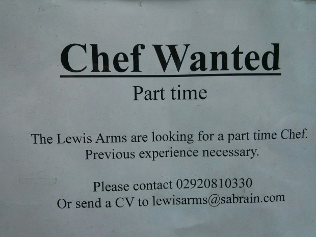 Lewis Arms Chef Advert