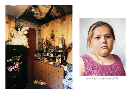 The bedroom of Alyssa in Harlan County, USA looks a bit like a tool shed at first. With the ceiling caved in, and wall boards exposed, her family is no doubt struggling, as are so many Americans today. A angelic doll sits atop her dresser, perhaps a beacon of hope in desperate times.