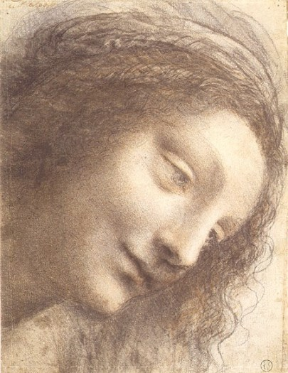Head of the Virgin in Three-Quarter View Facing Right, da Vinci, 1508–12