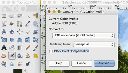 convertcolorprofile-gimp