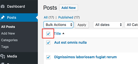 Select all posts on the page