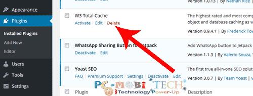Delete-w3-total-cache