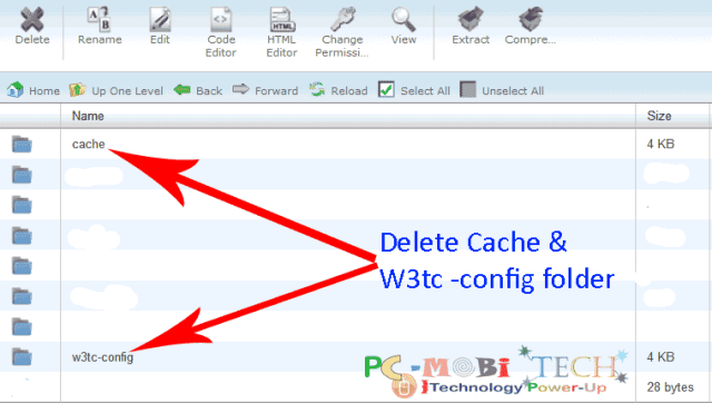 Delete cache & W3tc config file from wp-content folder