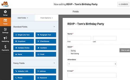 Creating an RSVP form with WPForms