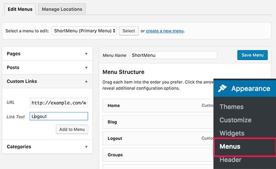 Logout link in navigation menu