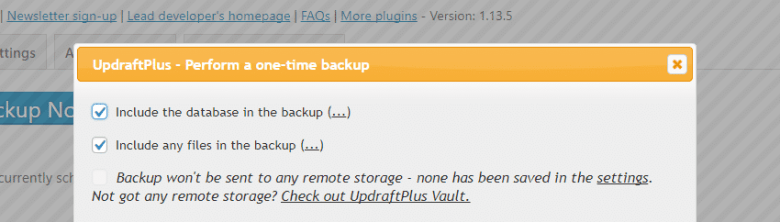 Including your database files in your backup.