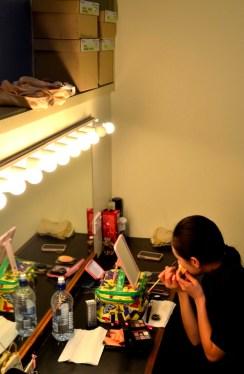 Yang getting makeup ready!