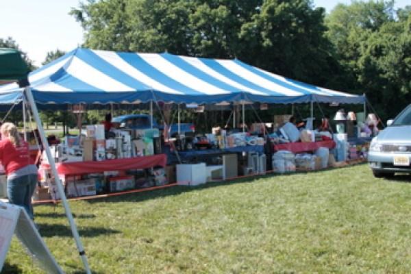 church outreach event donation tent