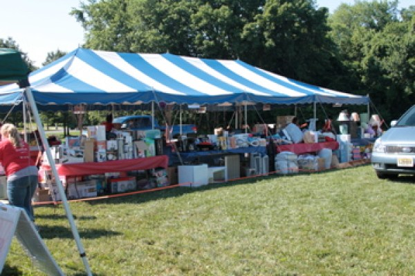 church outreach event donation tent