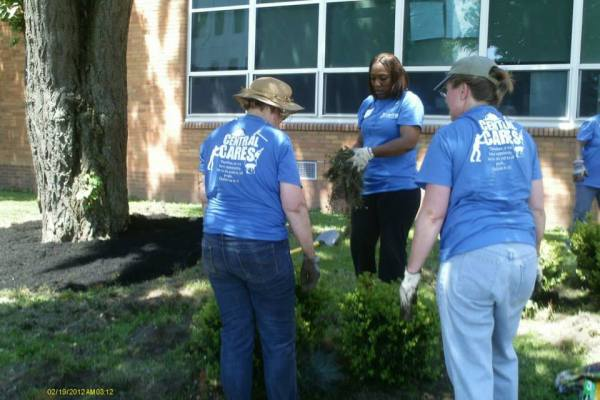 ladies planting for Central Cares Day