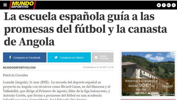 escuela español fútbol angola