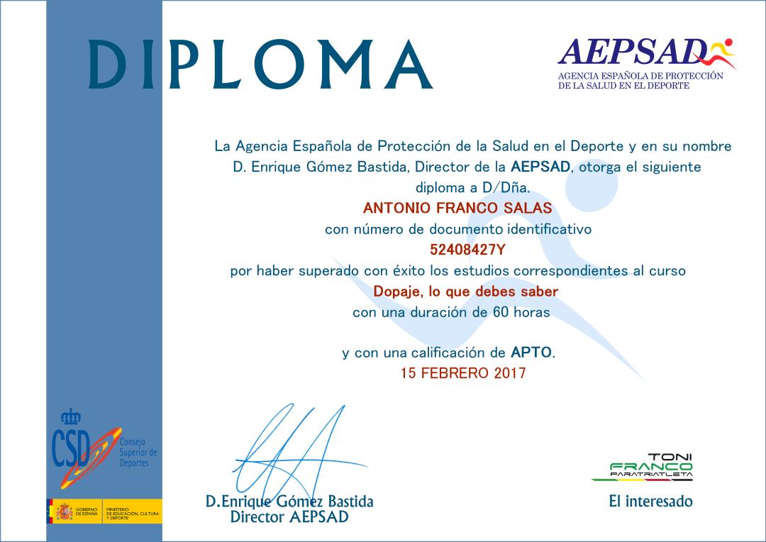 Diploma Dopaje, lo que debes saber