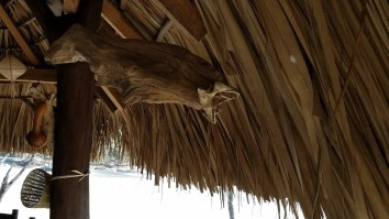 Decoration using a fish and wood at Playa Ventanilla