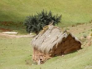 Lehmbauten mit Grasdächern: Hauptsächliche Bauweise in Peru - auch heute noch.