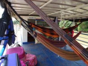 Die Hängematten auf der Barca am Rio Paraguay