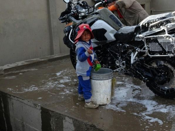 Motorradwäsche in La Paz